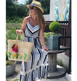 Multi Blue & White Stripe Dress w/Lace Trim Detail