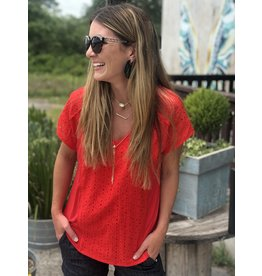 Eyelet Front Detail Top in Red