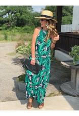Green & Blue Tropical Halter Maxi Dress