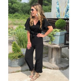 Jumpsuit with Front Tie in Black