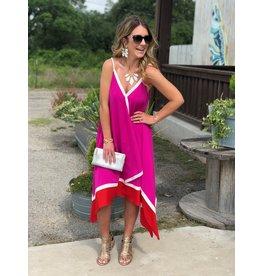 Red & Magenta Asymmetrical Dress