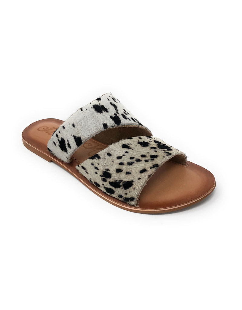 Naughty Monkey Spirited Black & White Hair on Hide Sandals