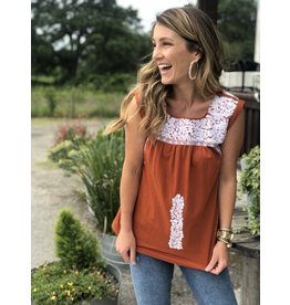 White & Burnt Orange Embroidered Top