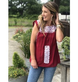 White & Maroon Embroidered Top