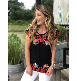 Black & Multi Colored Embroidered Top