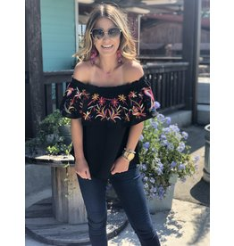 Black Embroidery Off Shoulder Top