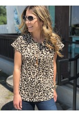 Taupe Leopard Print Short Sleeve w/ Front Pleat