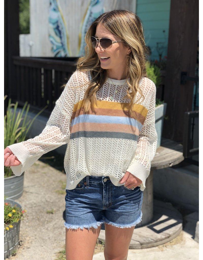 Cream Color Block Layering Sweater