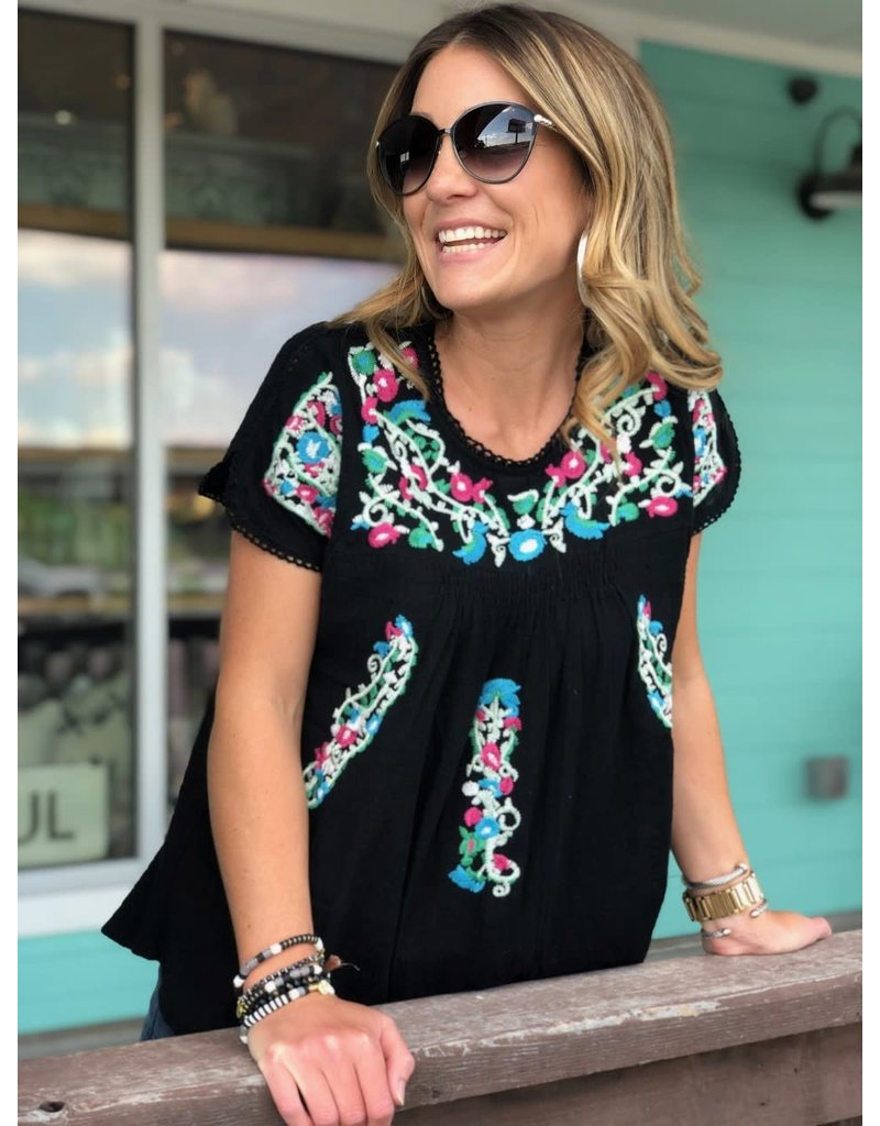 Black Pastel Embroidered Blouse
