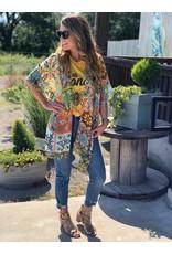 One Size Kimono - Amber/Emerald Moroccan Print