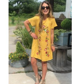 Floral Embroidered Shift Dress in Yellow