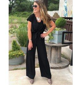 Black Jumpsuit Short Sleeve w/Tie Detail