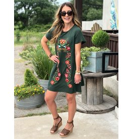 Floral Embroidered Shift Dress in Hunter Green