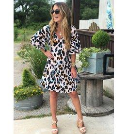 Pink Leopard Flare Sleeve V-Neck Dress