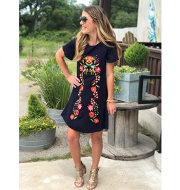 Floral Embroidered Shift Dress in Navy