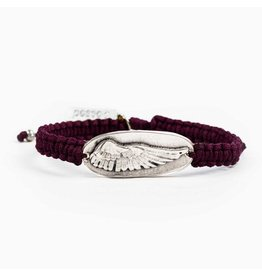 MSMH Protection Angel Wing Bracelet Maroon/Sil