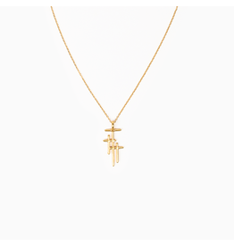 MSMH Faithful Light 3 Cross Necklace - Gold