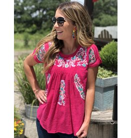 Pink embroidered crocheted neck & sleeve top