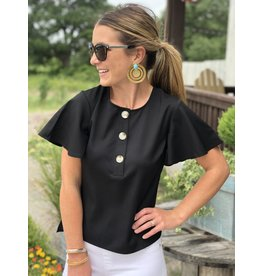 3 Button Flutter Sleeve Top - Black