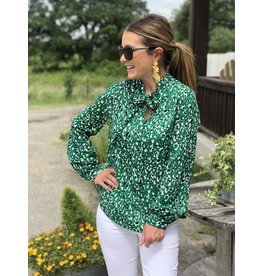 Long Sleeve Ribbon Tie Blouse - Green