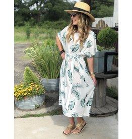Palm Print Dress w/Waist Tie
