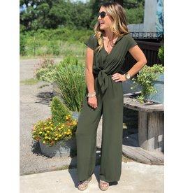 Olive Short Sleeve Jumpsuit w/Front Tie