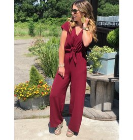 Wine Short Sleeve Jumpsuit w/Front Tie