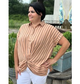 Dusty Peacock Striped Button Down Top