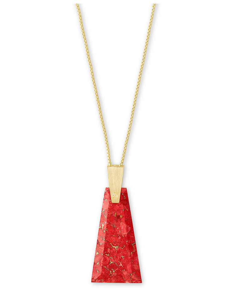 Kendra Scott Collins Long Necklace Gold Bronze Veined Red Magnesite