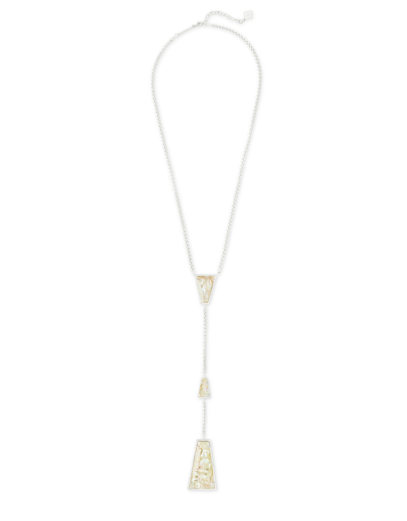 Kendra Scott Collins Y-Necklace Silver White Abalone