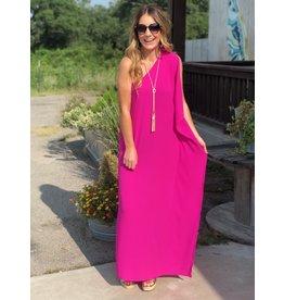 Fuschia One Shoulder Maxi dress