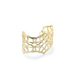 Natalie Wood Believer Cross Cuff Bracelet - Gold