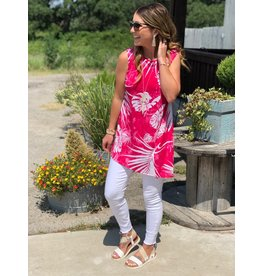 Clara Sunwoo Pink & White Palm Print Sleeveless Tunic