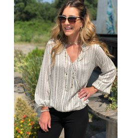 Striped Front Drape V-Neck Blouse