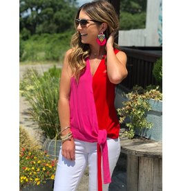Red & Fuschia Sleeveless V-Neck Top