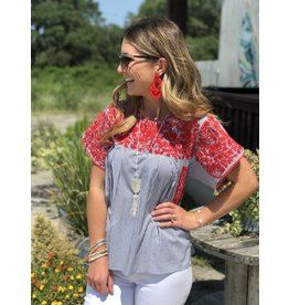 Red Embroidered Gray Pinstripe Top