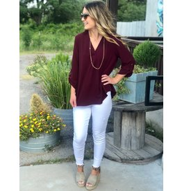 Maroon V Neck 3/4 Sleeve Top
