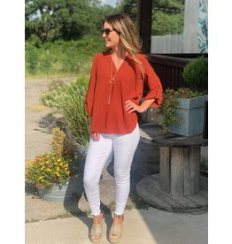 Burnt Orange V Neck 3/4 Sleeve Top