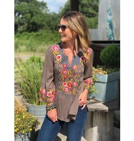 Mocha Embroidered Bell Sleeve Top