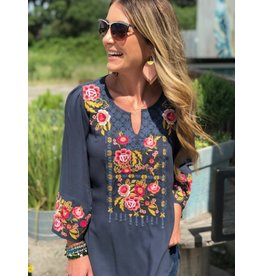 Dark Charcoal Embroidered Bell Sleeve Top