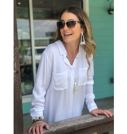 Dear John Evie Long Sleeve Button Down - Optic White