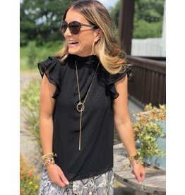 Black Dotted Back Tie Top