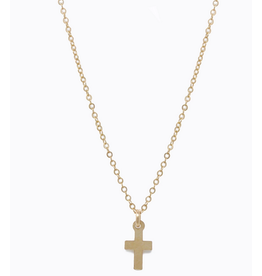 Able Mini Gold Cross Necklace