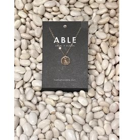 Able Mini Letter Gold Necklace - A