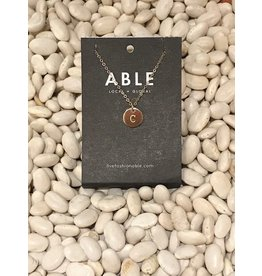 Able Mini Letter Gold Necklace - C
