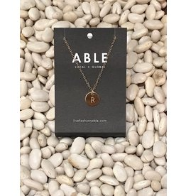 Able Mini Letter Gold Necklace - R