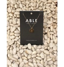 Able Mini Letter Gold Necklace - T