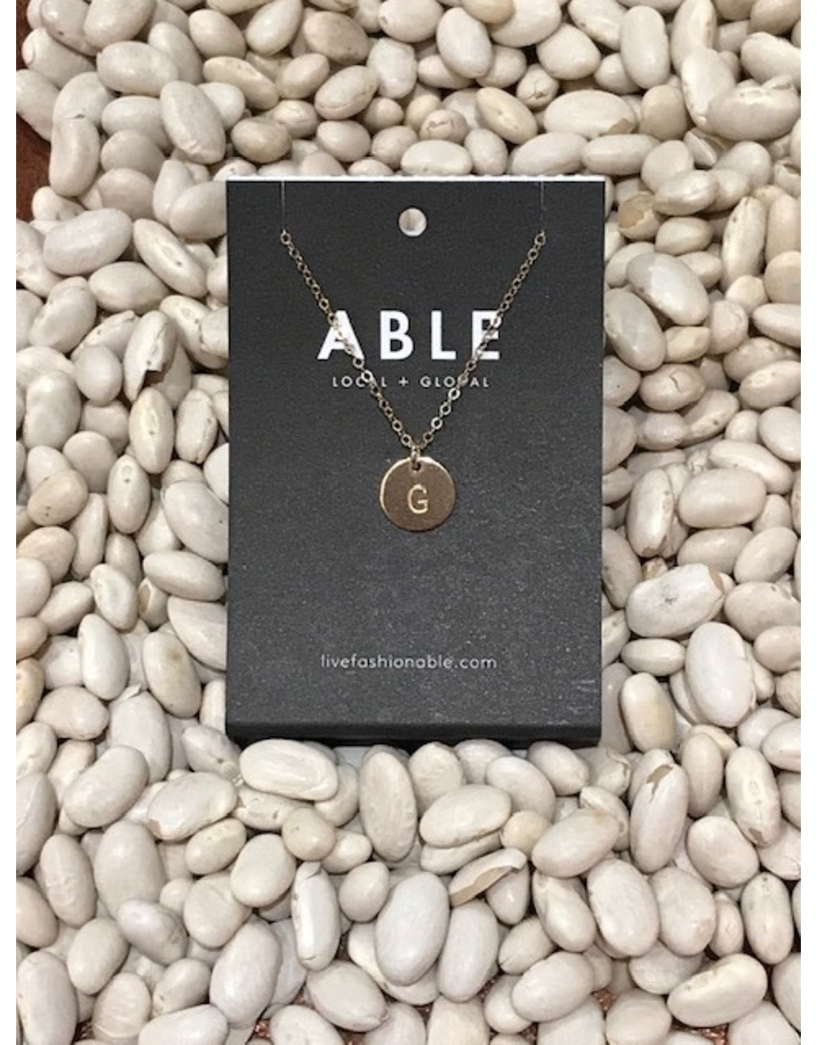 Able Mini Letter Gold Necklace - G