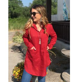 Linen Collar Tunic in Red