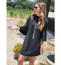 Another Love Black Mara Mock Neck Dress